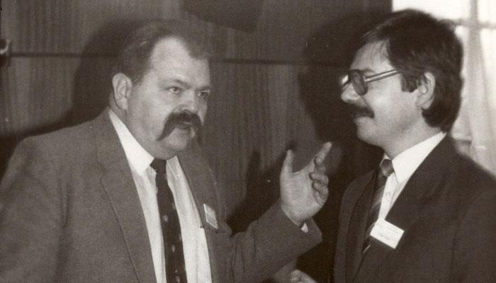 Pierwszy Prezes PTI Władysław M. Turski z pierwszym Prezesem ODS PTI Zygmuntem Mazurem